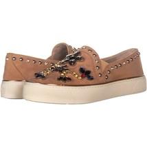 Stuart Weitzman Detail Embellished Slip On Sneakers 498, Naked Suede, 6 US - $127.67