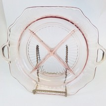 VTG Pink Depression Glass Hocking Mayfair Divided Handled Plate Dish Ope... - $11.88