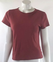 Liz Claiborne Womens Top Sz Large Red Solid Fitted Basic Short Sleeve Te... - $3.56