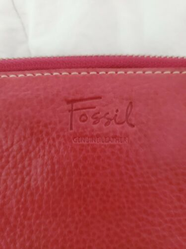 FOSSIL Zip Around Pebbled Leather Wallet Clutch Pink image 3