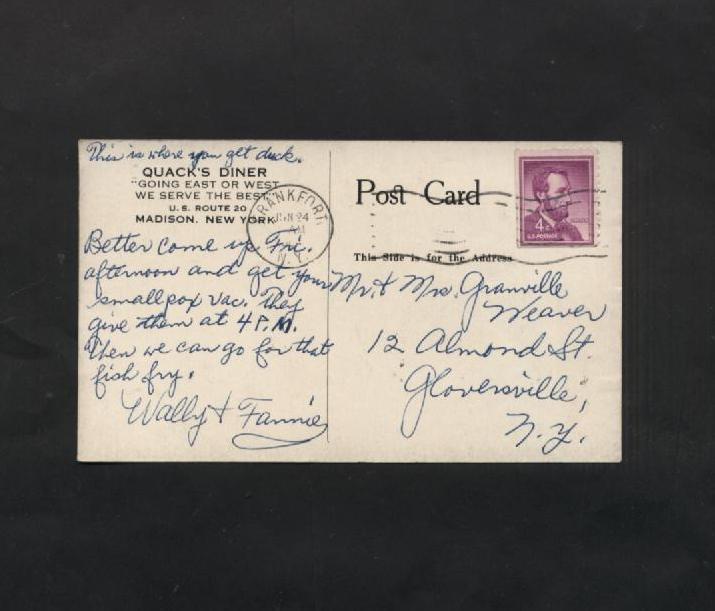 Vintage Postcard Black & White Linen Quack's Diner Madison New York NY