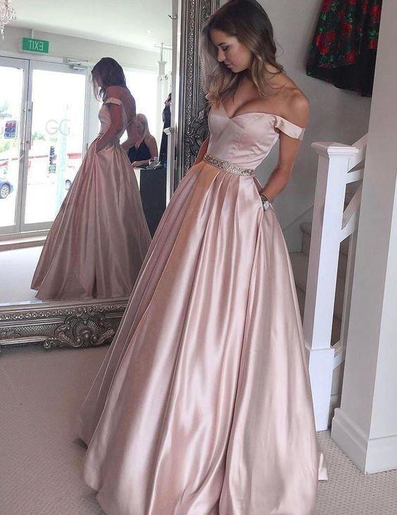 dusty pink prom dress, long prom dresses, off shoulder prom dress, party dress