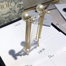 NEW AUTH Christian Dior 2020 DOUBLE PEARL EARRINGS GOLD DANGLE MULTI STRAND image 10