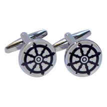wheel of darma buddism, round, silver Cufflinks in gift box cuff links