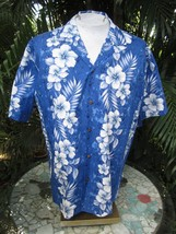 Made in Hawaii ALOHA shirt XL 25 pit to pit MILSON cotton blue white floral - $11.75