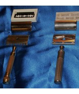 20s GOLD Gillette Open Comb Tooth +Gillette c 1932 Chrome Big Boy Safety... - $69.99
