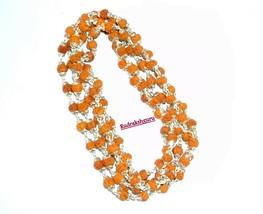 Rudraksha Mala / Rudraksha Rosary - 109 Beads  in Silver Self Design Caps - $98.01