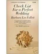 1970s Check List for a Perfect Wedding Barbara Lee Follett - $3.49