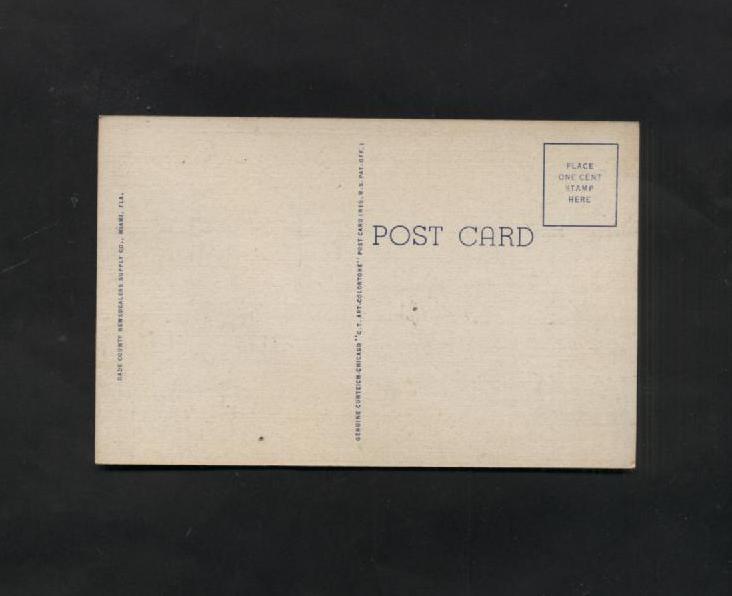 Vintage Postcard Linen Cabana Sun Club Roney Plaza Hotel Miami Florida Unused