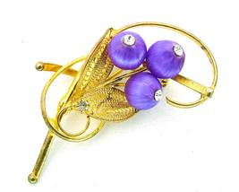 Vintage Brooch w/Blue Satin Beads Gold Tone Filigree &  Rhinestone Tips - $7.95