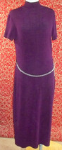 HELENE BLAKE VINTAGE 80 purple short sleeve stretch body con dress L (T0... - $19.78
