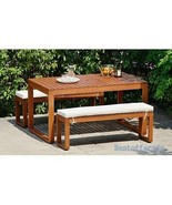 Wooden Garden Dining Set Solid Table & Benches Cushioned Outdoor Patio F... - $643.11