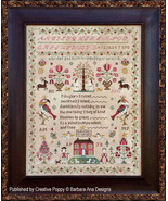 The Snooty Parrots Sampler cross stitch chart Barbara Ana Designs - $16.20