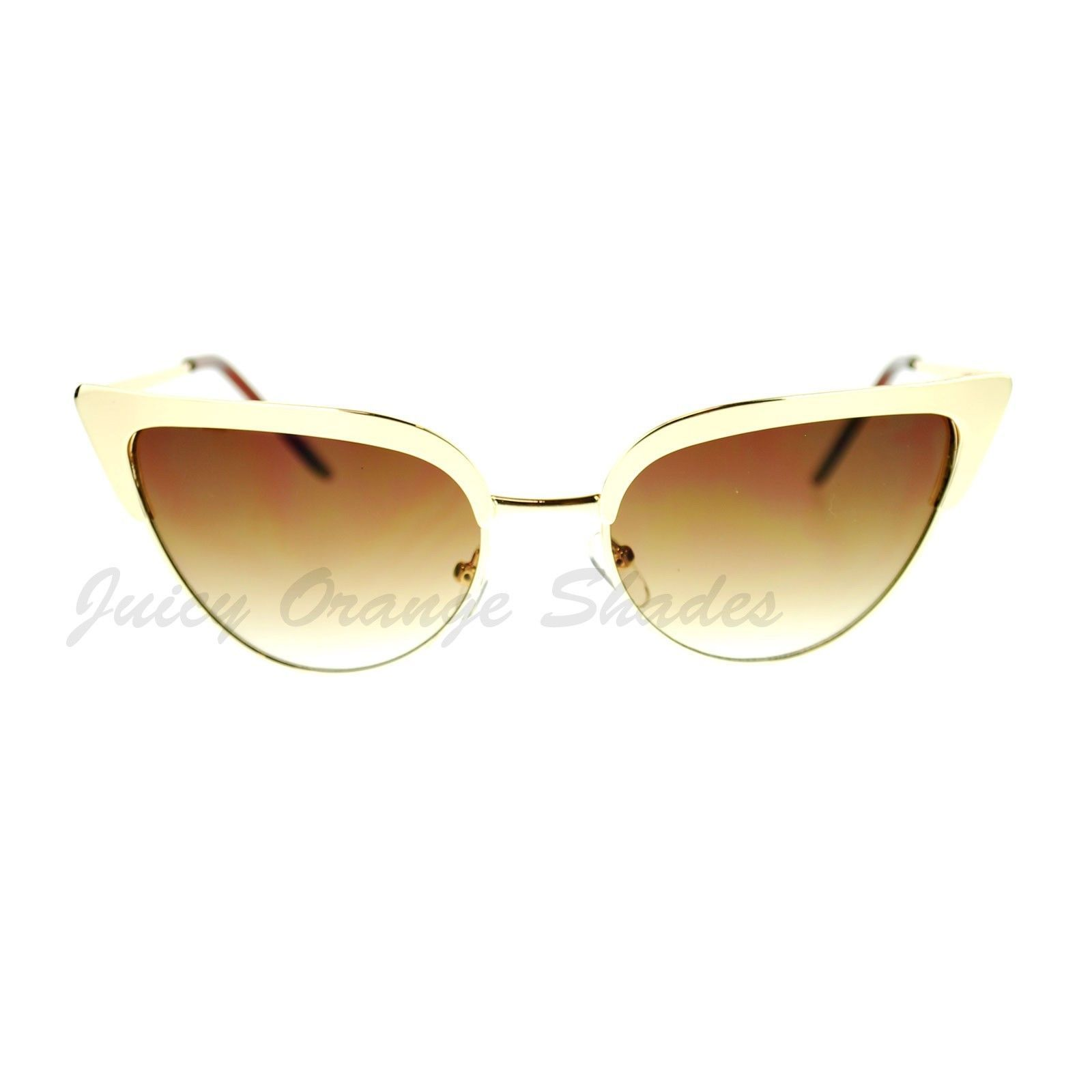 Bolded Top Cateye Metal Frame Sunglasses Women's Fashion