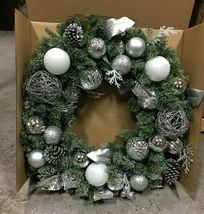 "32"" Pre-Lit Silver Ornament Wintery Pine Artificial Christmas Wreath NEW image 4"