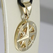 18K YELLOW GOLD WIND ROSE COMPASS CHARM PENDANT, MADE IN ITALY, DIAMETER 19 MM image 2