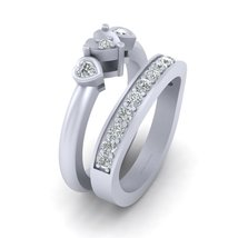 Solid 10k White Gold Bridal Wedding Ring Set Diamond Heart Engagement Ri... - $879.99