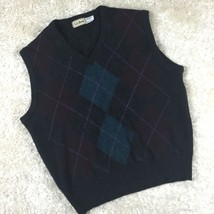 LL Bean 100% Lambswool Argyle Gray Sweater Vest Made In Scotland Size L - $23.14