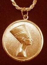 24k Yellow Gold Pltd 925 Egyptian Egypt Queen Nefertiti Pendant coin shape charm - $30.58