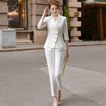 Women's High Quality Solid White Blazer Jacket Business Suit image 2