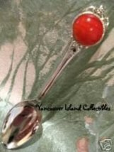 Polished CORAL Orange STONE Collector Souvenir Spoon  - $4.99