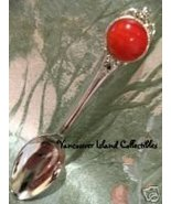 Polished CORAL Orange STONE Collector Souvenir Spoon  - $4.99