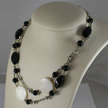 .925 RHODIUM SILVER NECKLACE, BLACK ONYX, MOTHER OF PEARL, FACETED SILVER BALLS image 4