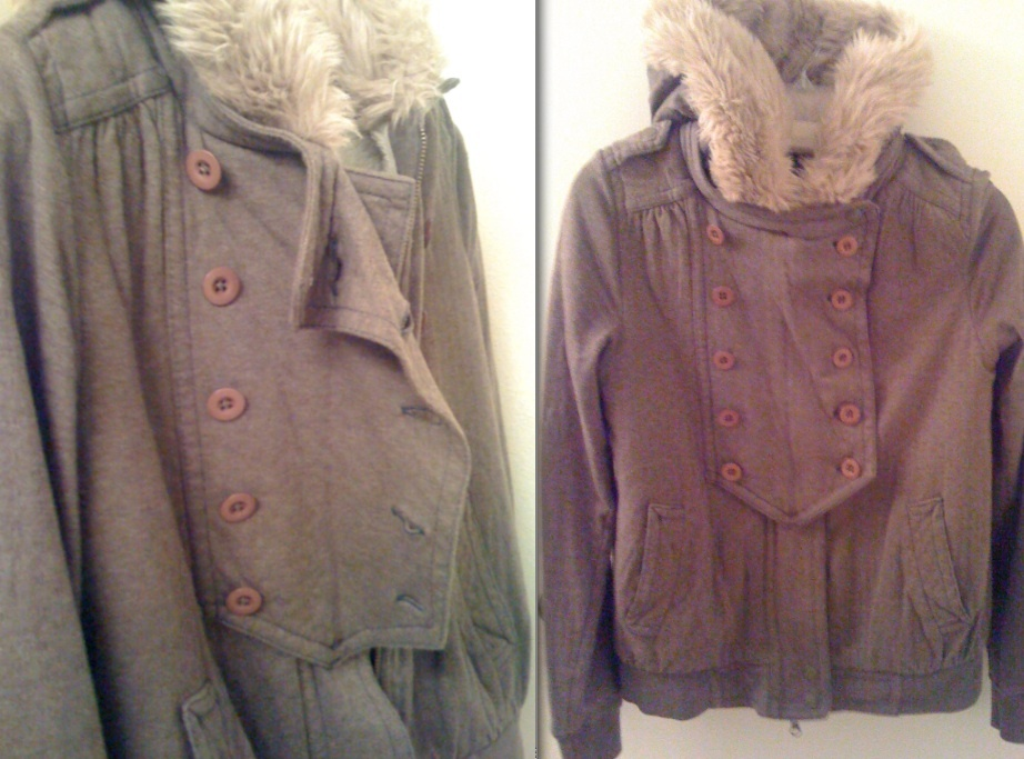 MARC JACOBS double-breasted HOODIE faux fur hood fleece-lined jacket S NWT RARE!