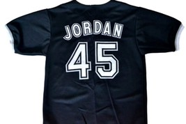 Michael Jordan #45 Birmingham Barons Button Down Baseball Jersey Black Any Size image 4