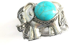Global Huntress Stunning Elephant Turquoise Antique Silver Natural Stone... - $41.64