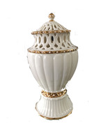 DECORATIVE CERAMIC VASE BY LENOX GOLD PLATED LINED AROUND  - $28.75