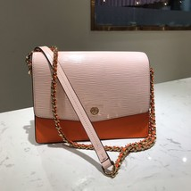 Tory Burch ROBINSON CONVERTIBLE SHOULDER BAG COLOR BLOCK ORANGE Authentic - $295.00