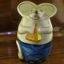 Vintage Speckled Stoneware Mouse in Blue Jeans Parmesan Cheese Shaker Di... - $21.73