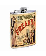 Vintage Freak Show Poster D8 Flask 8oz Stainless Steel Hip Drinking Whiskey - $13.81
