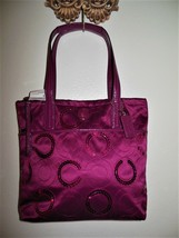 NEW COACH F25470 Passion Berry SIS Sequin C Signature Tote Patent Leathe... - $74.00