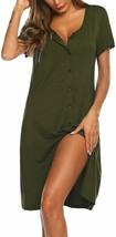 Ekouaer Women's Nightshirt Short Sleeve Button Down Nightgown V-Neck Sle... - $49.99