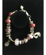 Sterling Pink Euro Bracelet, 8 Inch, Gift Idea 4 Her, Euro Spacers, Hand... - $24.95