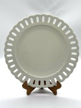 "Portmeirion Studio PS Valerie White 10"" Dinner Plate Lattice Ribbon Rim Country - $13.37"