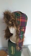 "NWT CAPELLI PINK PLAID FAUX FUR TRAPPER HAT, 20""HEAD, GREEN, YELLOW PURPLE, - $8.90"