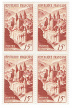1947 Abbey of Conques Aveyron Block of 4 France Postage Stamps Catalog 590 MNH