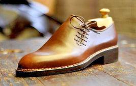 Designer Men Tan color leather formal Shoes Men good year welted sole Shoes - $164.99
