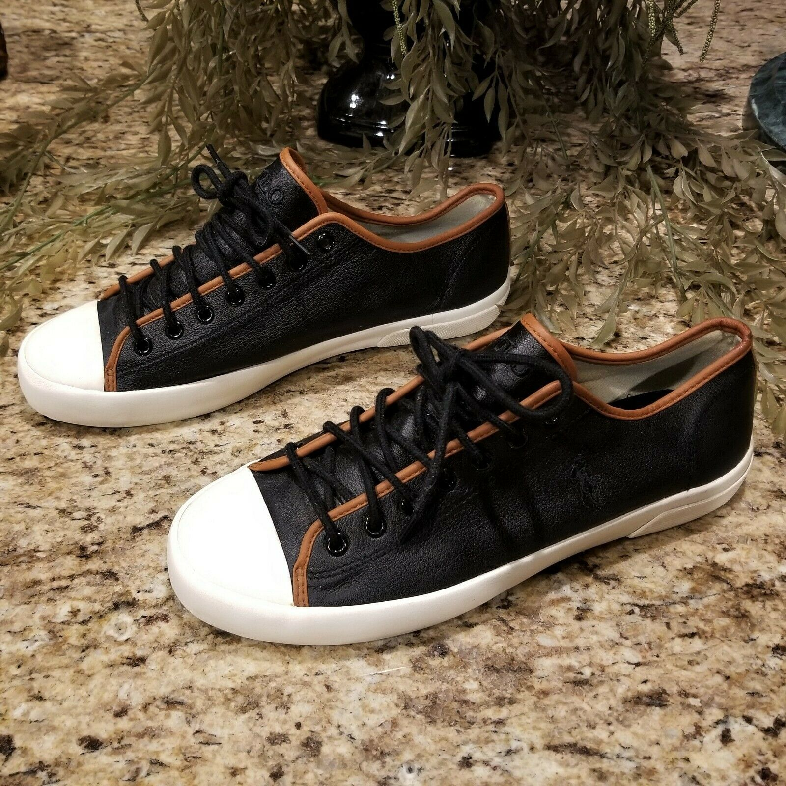 RARE Find Mens Polo Ralph Lauren Francisco Low Ox Black Leather Sneakers US Sz 9