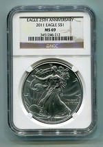 2011 American Silver Eagle Ngc MS69 Brown Label Premium Quality Nice Coin Pq - $51.95