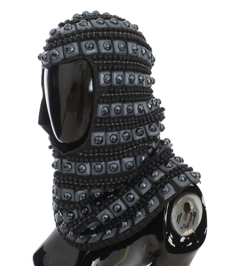 Dolce & Gabbana Gray Cashmere Glass Pearl Beaded Hood Scarf Hat