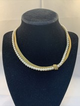 "Napier 16"" Signed Double Strand Faux Pearl Gold Tone Mesh Choker Necklace (1821) - $20.00"