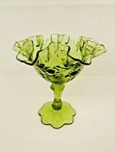 "Vintage Fenton Art Glass Colonial Green 6.25"" Cabbage Rose Ruffled Rim C... - $24.75"
