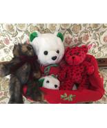 Lot of 3 stuff bears animal art stuff christmas basket Condition Mint - $35.00