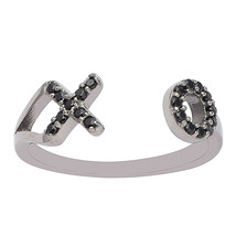"Black Spinel Gemstone 925 Silver Stackable Women Party Open Wrap Band ""X... - $1.00"