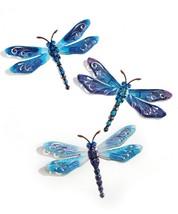 "Blue Metal Dragonfly Design Wall Decor Set of 3 - Plaques w Cutouts 15"" x 10"""