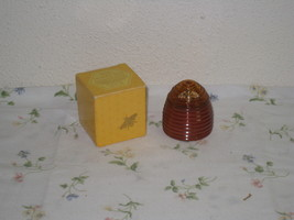 Vintage Avon Honey Bee Honeysuckle Cologne Amber Glass Hive Bottle with Box - $9.75